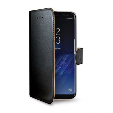 Celly Wally rahakott stiilis mobiiliümbris Samsung J3 2017-le, must