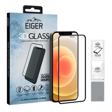 Eiger 3D Fullscreen Glass - 9H kaitseklaas servast servani, iPhone 12 Minile, musta äärega