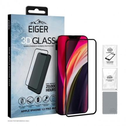 Eiger 3D Fullscreen Glass - 9H kaitseklaas servast servani, iPhone12 Pro Max, musta äärega