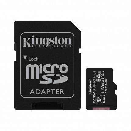 Kingston Canvas Select Plus 64GB microSD Class10 mälukaart