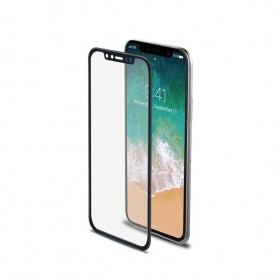 Celly 3D Fullscreen Glass - 9H kaitseklaas servast servani, Apple iPhone X'le , musta äärega