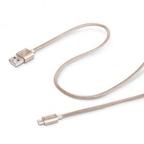 Celly Micro USB - USB tekstiilkattega kaabel 1m, kuldne
