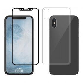 """Eiger 3D 9H kaitseklaas servast servani koos taga kaitseklaasiga,360"""" kaitse, Apple iPhone X'ile , musta äärega"""