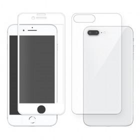 """Eiger 3D 9H kaitseklaas servast servani koos taga kaitseklaasiga,360"""" kaitse, Apple iPhone 8 Plusile , valge äärega"""