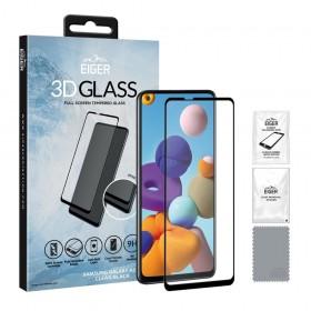 Eiger 3D Fullscreen Glass - 9H kaitseklaas servast servani, Samsung Galaxy A21S'le , musta äärega