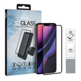 Eiger 3D Fullscreen Glass - 9H kaitseklaas servast servani, iPhone 11 / XR'ile, musta äärega
